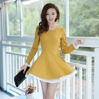 2014 Women Spring And Summer Plus Size Long-Sleeve Lace Decoration Adjust Waist Basic Dress Free Shipping