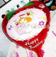"Balloon Birthday Party Decoration Strawberry girl balloon Kids Cartoon Balloons Gift  10pcs/lot  18"""