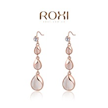 Brand Jewelry! High Quality New 2015 Fashion ROXI Jewelry Rose Gold Plated Cat Eye's Stone Water Drop Earrings For Women Party(China (Mainland))