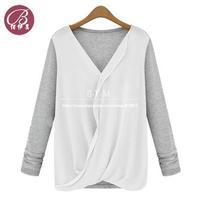 Summer New Style High-density Stitching Knitted Chiffon Fashion Shirt Women's 2014 Long Sleeve V-neck Blouse Free shipping