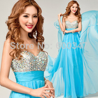 New 2014 Lady Blue/White Chiffon Diamond V-Neck Transparent Straps Floor Length Formal Evening Dresses,Prom Party Dress Gown