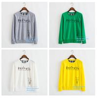 "Free Shipping 2014  Autumn and winter green""Refresh"" printing women's ladies Cotton sweatshirt hooded cartoon hoodies coat"