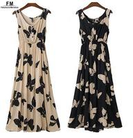 Butterfly Printed Viscose Sleeveless Maxi Dress Viscose Bohemian Print Long Dresses Summer 2014 New Vestido SS14D040