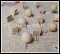 Creative round top woodiness pushpins wood drawing push pin Tacks Map Thumbtacks Stationery office supplies 200pcs B1-009