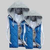 2014  M - XXXL Plus Size New Lover Women and Men Autumn Winter Cotton Vest Waistcoat Women Ladies Vest Fashion With Hood A 013