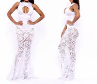 Free shipping 2014 Desigual White Lace Mermaid Wedding Dresses Sexy Mermaid Prom Long Lace Summer Elegant Party Evening Dress