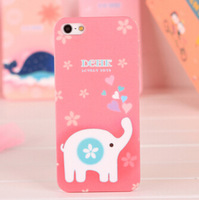cartoon animal pink cute girly whale Giraffe rabbit elephant sheep lion rabbit zebra Hippo print for iphone 5 5S case elephant