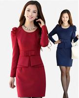 Korean Fashion Elegant New 2014 Spring Winter Women's Long-Sleeve O-Neck Casual Plus Size Hip Tops Sexy Vintage Dress Retro