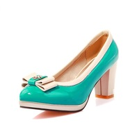 MEMOO 2014 Pumps Size 4-12 Spring Autumn Women High Heel  Basic Square Patent Leather Bowtie Beige Blue Elegant A3363