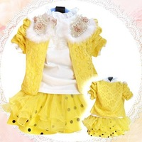 New Arrival Baby Warm Floral Beaded Clothing Set Baby Girl's T-Shirt Winter Coat Girls Lace Tutu Skirt 3pcs lot Free Shipping