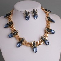 High Quality Brand Fashion Costume Jewelry Royal Blue Crystal Personalized Ant Design Bib Necklace Earrings Wedding Set PBN-188