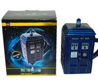 Fashion Original Doctor Who Ceramic Coffee Cups Tardis Mug With Removable Lid Police Box Mugs