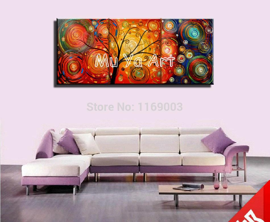 Abstrato galho de árvore moderna 3 peça arte da parede da lona pintura à mão óleo sobre tela wall art decor sala pictures decoração(China (Mainland))