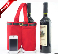 J.G Chen Large Size 21X24CM High Quality Christmas Gifts Decoration Santa Pants Bag For Wine Bottles Gift for Friends