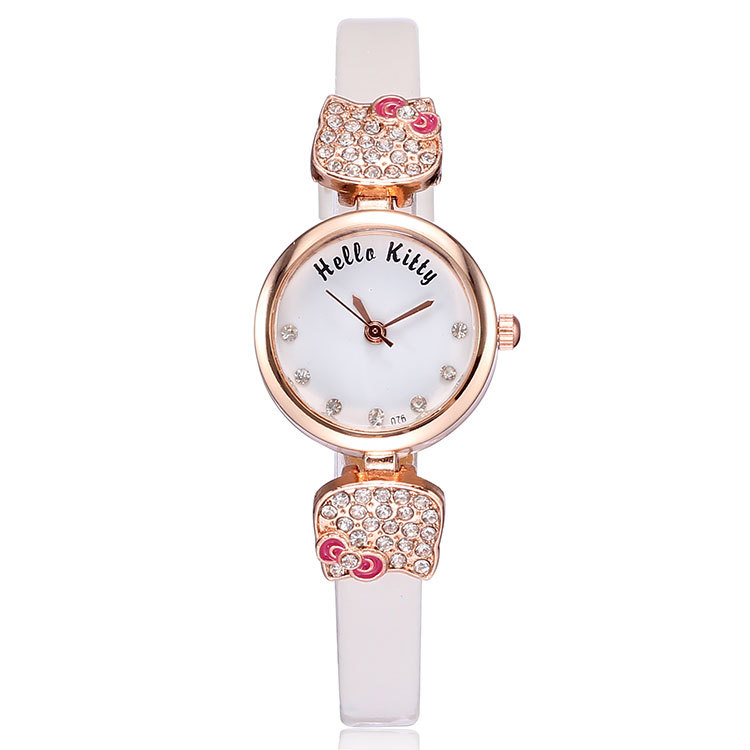 Cute hello kitty leather strap woman watches 2014 quartz fashion analog rose gold plated charm rhinestone watch ladies 5 colors(China (Mainland))