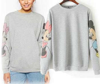 Женщины Sweatshirt Autumn Winter Женщины MICKEY Printed On Рукав Повседневный Hoodies ...