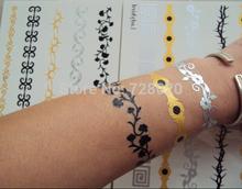 Newest hot sale Metallic gold silver black bracelet temporary tattoo(China (Mainland))