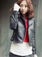 women's new big size slim short style revere long sleeve motor PU leather jacket