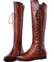 Free shipping 2014 women's autumn and winter Tall canister boots, female's lace-up knight boots EUR 34-39