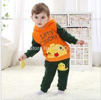 2014 children's autumn clothing children set fashion velvet color block decoration male child set 2-3 years old  95-100cm