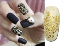 Unique Beauty One Sheet Golden 3D Nail Stickers Adesivos Decals Manicure stickers On nail styling Tools adesivos decorativos P98