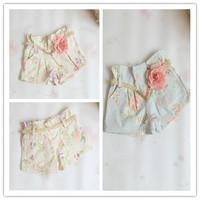 Hu Sunshine wholesale new 2014 fashion summer popular girls shorts floral printed leisure shorts with belt beige/ blue for girls