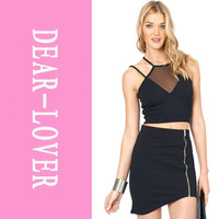 New 2014 1 Piece Sexy Black Mesh Insert Halter Club Top  summer cropped party  top  short  cropped Clubwear Tops