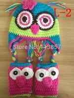 handmade crochet owl hat and boot cuffs sets