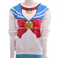 New Harajuku Sailor Moon Long Sleeve Shirt Seaman Neck Bowknot Pattern Fake Hood  Birthday Gift Fans Collectables