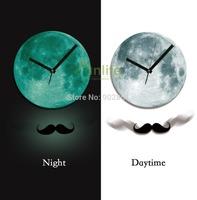 Funlife Exclusive 30cm Dia Acrylic Moustache Pendulum Moonlight Glowing Wall Clock Luminous Glow in the Dark for Home  wcBD0011