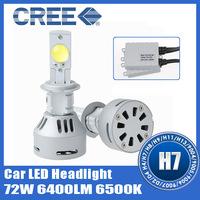 2X CREE MTG LED Headlight Kit H7 72W High Power 6400LM 6500K Car Fog Lamp Bulb Free Shipping