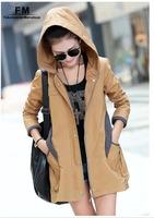 Autumn Jackets For Women Hoodied Orange Khaki Parka Pink Coat Big Size Zipper Coat Jacket Winter Jaqueta Feminina 3XL AW14J003