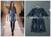2014 Women's Autumn Winter Dresses Vintage Elegant Stereo Discoid Flowers Print Slim Short Denim Dress XXL Plus Size Casual
