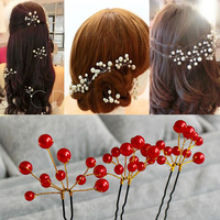 Min order $10 Free shipping 2014 fashion pearl Hairpin bridal hair DIY accessories wedding jewelery H44