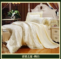 Luxury brand white lace satin jacquard bedding comforter set sets king queen size duvet cover bedspread bed in a bag sheet quilt