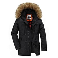 B 2014 New Men'S Winter Fashion Brand Hooded Padded Jacket With Fur Collar Thickening Feather Cotton Long Casual Jacket GG96