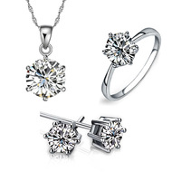 white gold silver Noble Eaegance Jewelry Necklace Earring ring Set Made with Austrian  Element Crystals  CS191B9