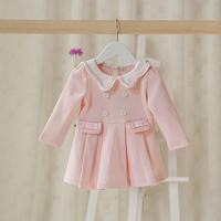 2015 New,baby girls princess dress,children fashion dress,long sleeve,button,lace,pink/white,5 pcs/lot,wholesale,2050