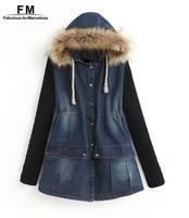 Denim Jacket With Fur Hood Women Coat Jaqueta Feminina New 2014 Winter Knitted Long Sleeve Jeans Jacket AW14J004