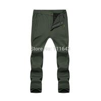 Winter Warm Skiing Trousers Men's Waterproof Outdoor Sports Fleece Pants Hiking Climbing Skiing Trousers Men Army Green Black