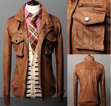 2014 Sale Rushed Mandarin Collar Single Breasted Military Men Jacket Slim Suede Jacket Motorcycle Winter Coat