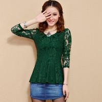 2014 Hot Women Lace Blouses Long Sleeve Korean Autumn Slim Waist Female Gauze Lace Shirts Ladies Sleeve Green Black
