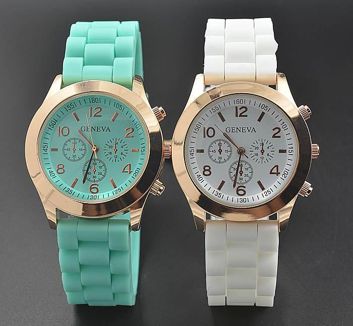 Geneva Casual Watch Women Dress Watch 2014 Quartz Military men Silicone watches Unisex Wristwatch Sports watch(China (Mainland))