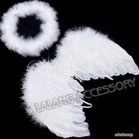 New 1set Infant Newborn Photo Prop Baby Kids Angel Fairy Feather Wing Costume for Children's Christmas Present Items BZ870565