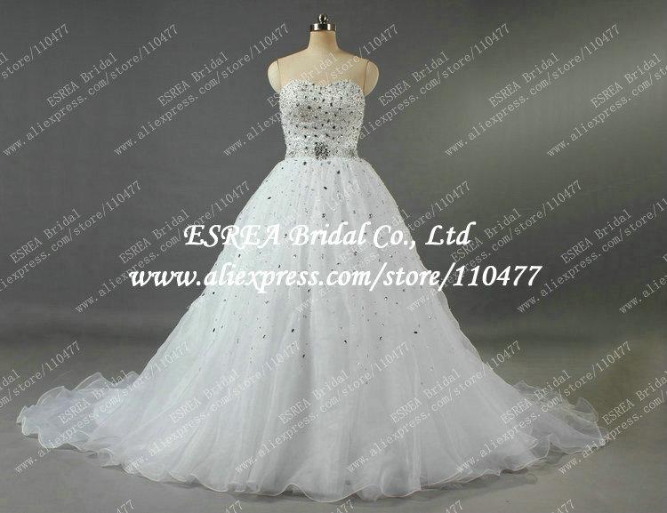 Unique Organza White Luxury Sworoski Crystal Bridal Wedding Dress Gown Real Photo Princess R1149 Vestidos de Novia(China (Mainland))