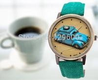 The British style Men women quartz watches Casual denim PU cortex  watches watches vintage car
