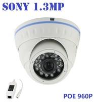 New ! Onvif HD POE Sony 1.3MP Mini Dome IP Camera,IR Night Vision poe ip cam,P2P Plug Play CCTV Security camara,Free Phone view