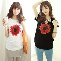 2014 New Summer short-sleeve women's t-shirt cartoon print loose female t-shirt female summer short-sleeve
