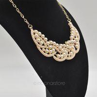 Fashion beads Necklace False Collar Necklace Pearl Hollowed Golden ChokerPendant PMHM015
