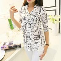 New 2014 Fashion Hot Sale Plus Size Casual half Sleeve Chiffon Blouse Shirts Tops For Women free shiping F.SZ.W.211
